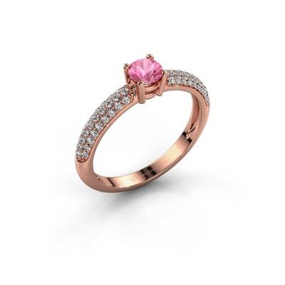 Foto van Ring Marjan 375 rosé goud roze saffier 4.2 mm