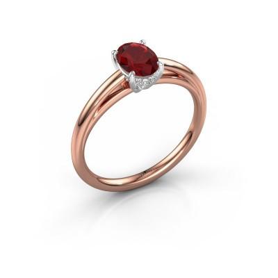 Verlovingsring Haley OVL 1 585 rosé goud robijn 7x5 mm