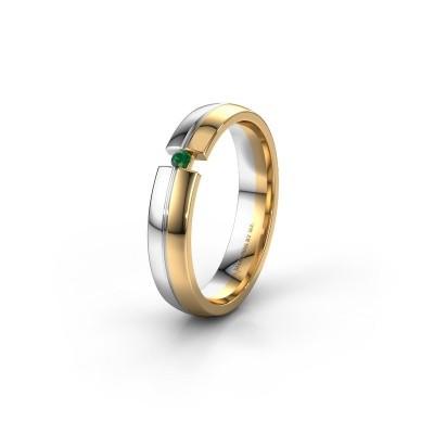 Trouwring WH0254L24X 585 goud smaragd ±4x1.5 mm