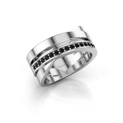 Ring Yolando 950 platinum black diamond 0.192 crt