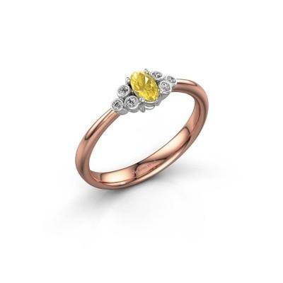 Foto van Verlovingsring Lucy 1 585 rosé goud gele saffier 6x4 mm