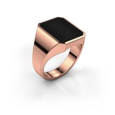 Foto van Zegelring Lars 4 375 rosé goud onyx 15x12 mm
