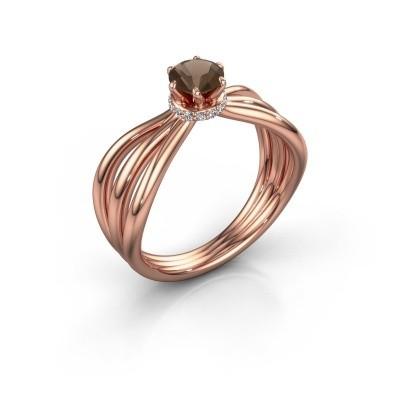 Verlovingsring Kimi 375 rosé goud rookkwarts 5 mm