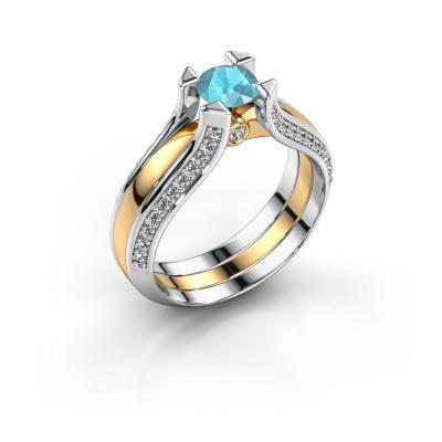 Engagement ring Nadine 585 gold blue topaz 5 mm