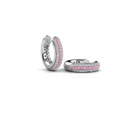 Picture of Hoop earrings Tristan B 14 mm 585 white gold pink sapphire 1 mm