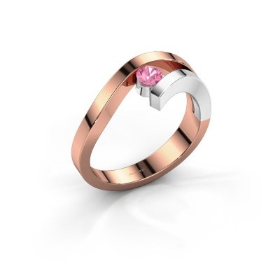 Ring Evalyn 1 585 rosé goud roze saffier 3.7 mm