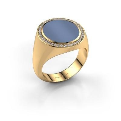 Foto van Zegelring Adam 5 375 goud licht blauwe lagensteen 15x13 mm