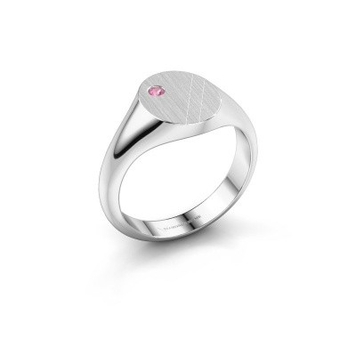 Bild von Pinky Ring Finn 3 585 Weißgold Pink Saphir 2 mm