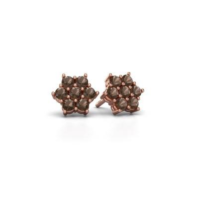 Picture of Stud earrings Bonita 375 rose gold smokey quartz 2.4 mm