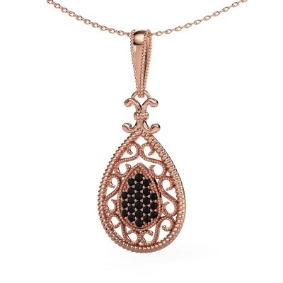 Pendentif Tammie 585 or rose diamant noir 0.324 crt