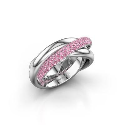 Ring Trinity 2 950 platina roze saffier 1 mm