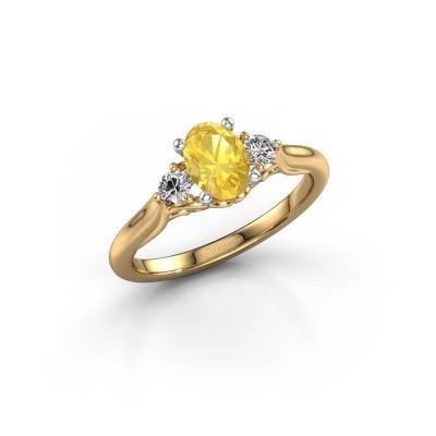 Foto van Verlovingsring Laurian OVL 585 goud gele saffier 7x5 mm