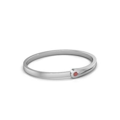 Bracelet jonc Kiki 950 platine rubis 4 mm
