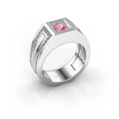 Foto van Heren ring Lando 585 witgoud roze saffier 4.7 mm