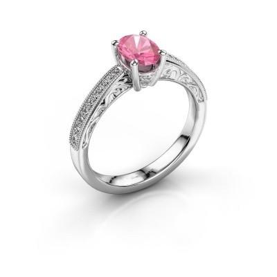 Verlovingsring Shonta OVL 950 platina roze saffier 7x5 mm