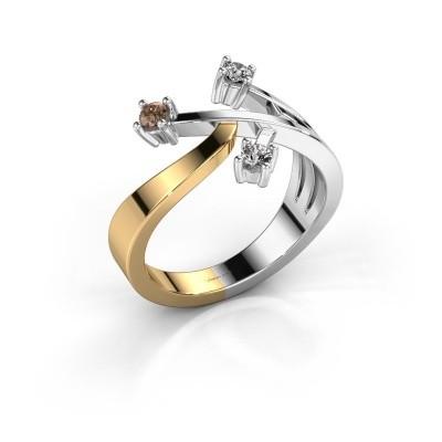 Ring Lillian 585 goud bruine diamant 0.18 crt