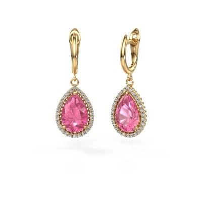 Drop earrings Hana 1 585 gold pink sapphire 12x8 mm