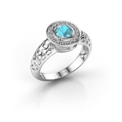 Foto van Ring Katalina 375 witgoud blauw topaas 5 mm