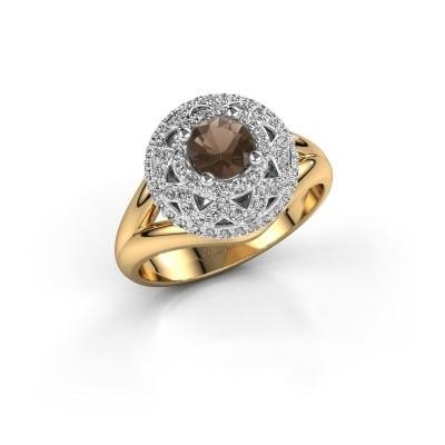Ring Leonora 585 gold smokey quartz 5 mm