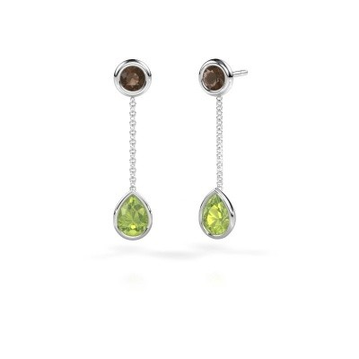 Picture of Drop earrings Ladawn 950 platinum peridot 7x5 mm