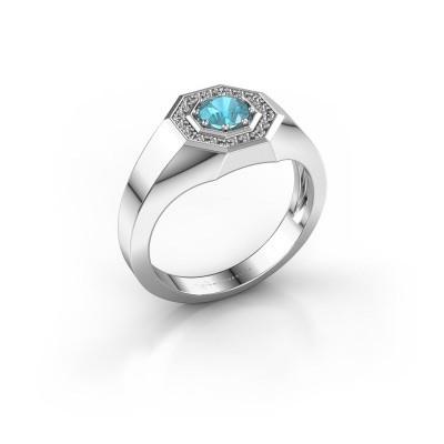 Foto van Heren ring Jaap 925 zilver blauw topaas 5 mm