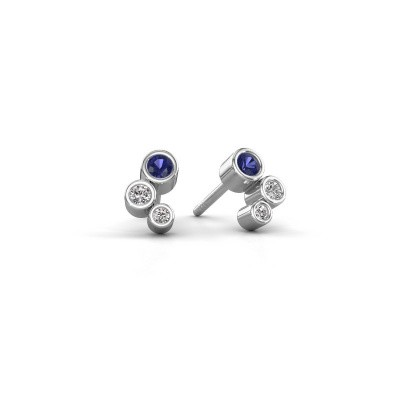Photo de Clous d'oreilles Marlys 585 or blanc saphir 2.5 mm