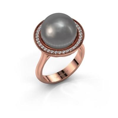 Foto van Ring Grisel 375 rosé goud grijze parel 12 mm