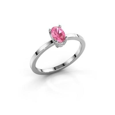 Foto van Ring Lynelle 1 585 witgoud roze saffier 6x4 mm