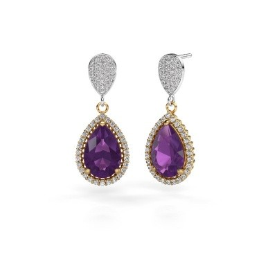 Picture of Drop earrings Cheree 2 585 gold amethyst 12x8 mm