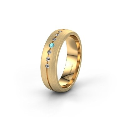 Wedding ring WH0162L25A 585 gold blue topaz ±5,5x1.7 mm