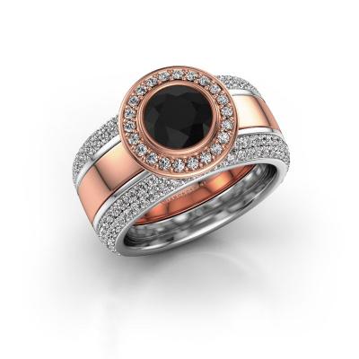 Foto van Ring Roxie 585 rosé goud zwarte diamant 2.36 crt
