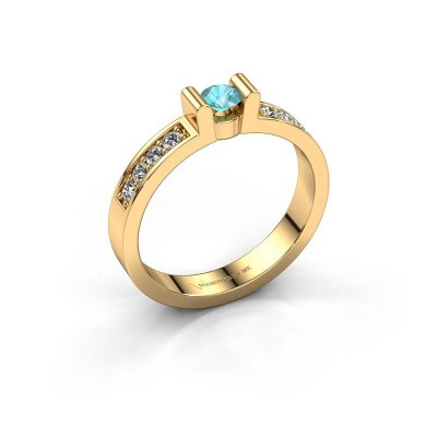 Verlovingsring Sofie 2 375 goud blauw topaas 3.4 mm