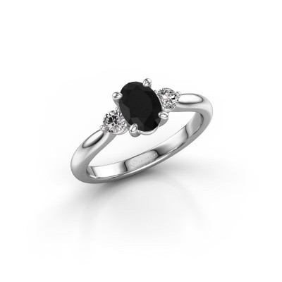 Photo de Bague de fiançailles Lieselot OVL 585 or blanc diamant noir 0.89 crt