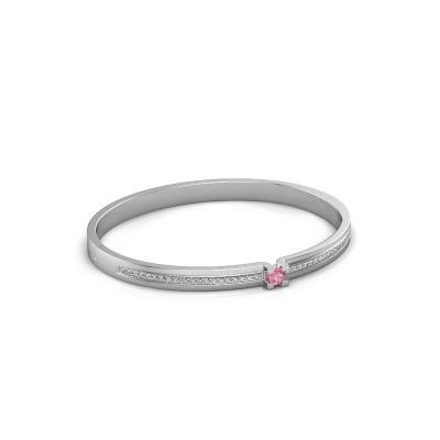 Armband Myrthe 585 witgoud roze saffier 4 mm