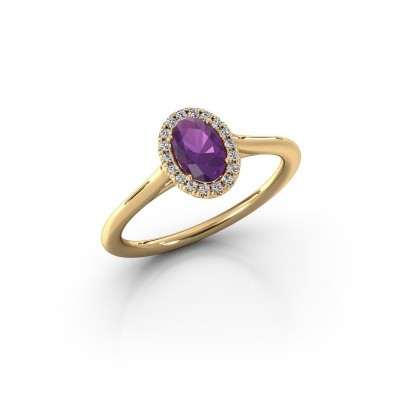 Engagement ring Seline 1 585 gold amethyst 6x4 mm