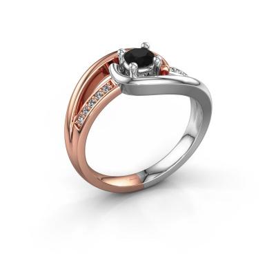 Ring Aylin 585 rosé goud zwarte diamant 0.375 crt