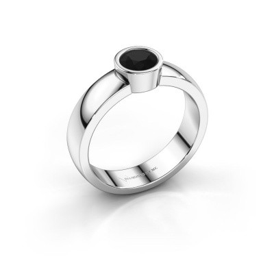 Foto van Ring Ise 1 585 witgoud zwarte diamant 0.48 crt