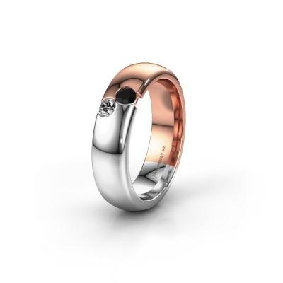 Wedding ring WH1003L26C 585 rose gold black diamond ±0.24x0.09in