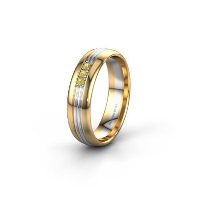 Trouwring WH0405L35X 585 goud gele saffier ±5x1.5 mm