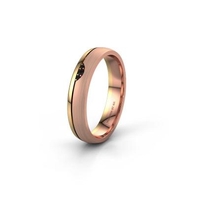 Trouwring WH0334L24X 585 rosé goud zwarte diamant ±4x1.5 mm