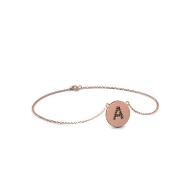 Foto van Armband Initial 050 375 rosé goud zwarte diamant 0.084 crt