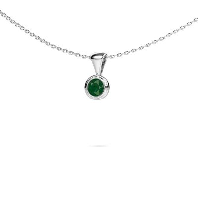 Foto van Ketting Lieke 925 zilver smaragd 4 mm