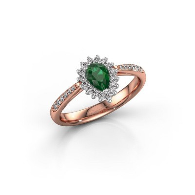 Engagement ring Tilly per 2 585 rose gold emerald 6x4 mm