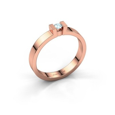 Verlovingsring Lieve 1 375 rosé goud aquamarijn 3 mm