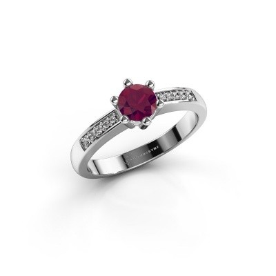Photo de Bague de fiançailles Luna 2 585 or blanc rhodolite 5 mm
