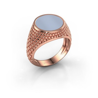 Zegelring Zachary 2 375 rosé goud licht blauwe lagensteen 12 mm
