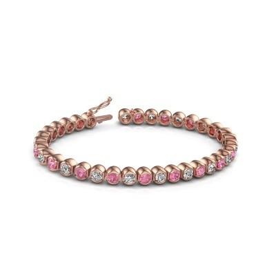 Foto van Tennisarmband Bianca 375 rosé goud roze saffier 4 mm