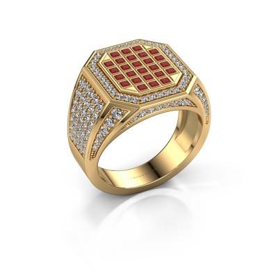 Heren ring Bjorn 375 goud robijn 1.5 mm