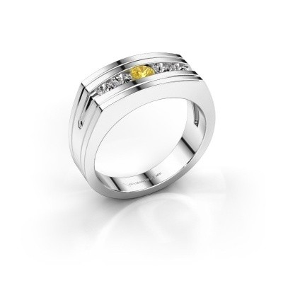 Picture of Men's ring Huub 950 platinum yellow sapphire 3.7 mm