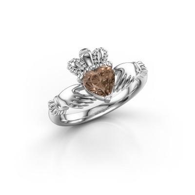 Foto van Ring Claddagh 2 950 platina bruine diamant 0.80 crt